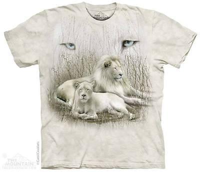THE MOUNTAIN WHITE LION FAMILY EYES COLLAGE JUNGLE ANIMALS T TEE SHIRT S-5XL