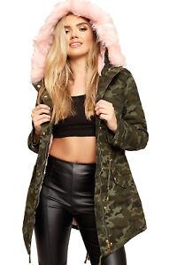 Femmes-Camouflage-Imprimer-Neon-Faux-Fourrure-Double-Veste-Manteau-Dames-Encapuc