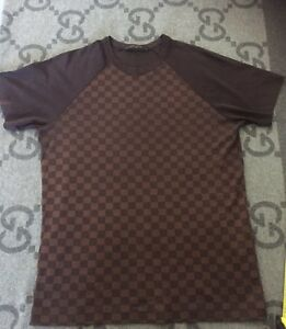 100 authentic louis vuitton t shirt damier brown ebene. Black Bedroom Furniture Sets. Home Design Ideas