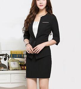 cfa94a8ff201e élégant Costume ensemble femme noir veste manches trois quart 7063 ...