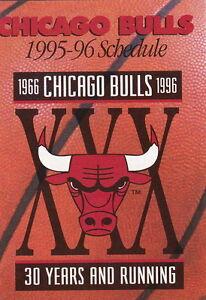 Image Is Loading 1995 96 CHICAGO BULLS BASKETBALL POCKET SCHEDULE