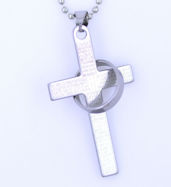 Silver / blue / black stainless steel Lord's prayer cross and rings necklace