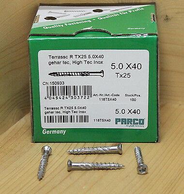 Parco® 5,0 x 40 / 70 / 80 mm Edelstahl C1 Terrassenschrauben gehärtet