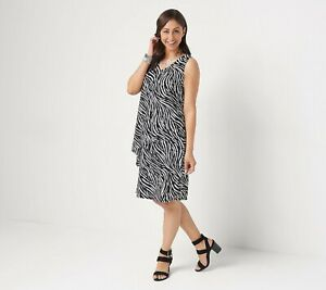 Susan-Graver-Regular-Liquid-Knit-Sleeveless-Tiered-Dress-SIZE-S-Black-Zebra