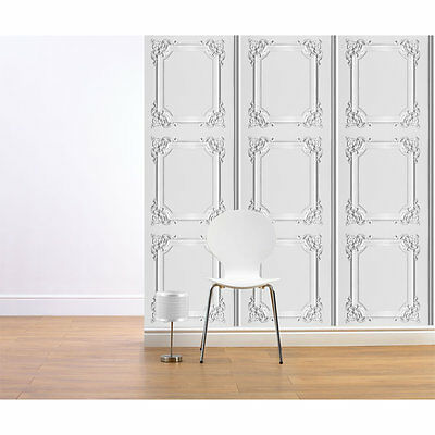 WHITE GREY LOUIS XV WOOD PANELING MURIVA FEATURE DESIGNER VINYL WALLPAPER J36509