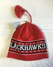 Chicago Blackhawks Knit Beanie Toque Winter Hat Skull Cap Women's New w/ tassle