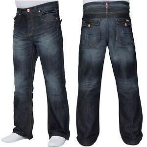 New Mens APT Designer Dark Blue Stonewash Bootcut Jeans Wide Leg ...