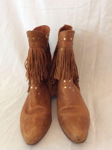 a de hechas con vaquero marrón estilo mujer de Botas mano cuero para tobillo talla 40 ZwdIqtnxz