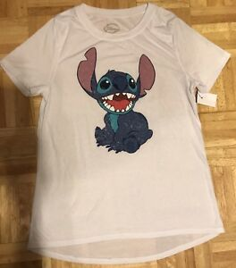 NWT-Disney-Lilo-Stitch-Juniors-Women-039-s-White-Top-Shirt-High-Low-Sz-L-Large-SOFT