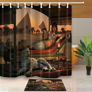 Exceptionnel Image Is Loading Egyptian Beauty And Leopard Shower Curtain Set Pyramid