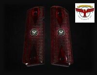 Colt Model 1911 Oxblood Grips Checkered Diamond + Silver Liberty Eagle Med ^