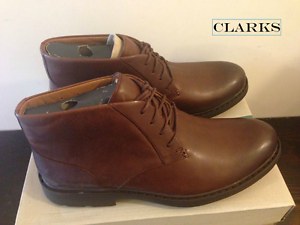 Clarks Mens Buckland Mid -  Chestnut Leather Classic Chukka Boots UK 6 RRP £120