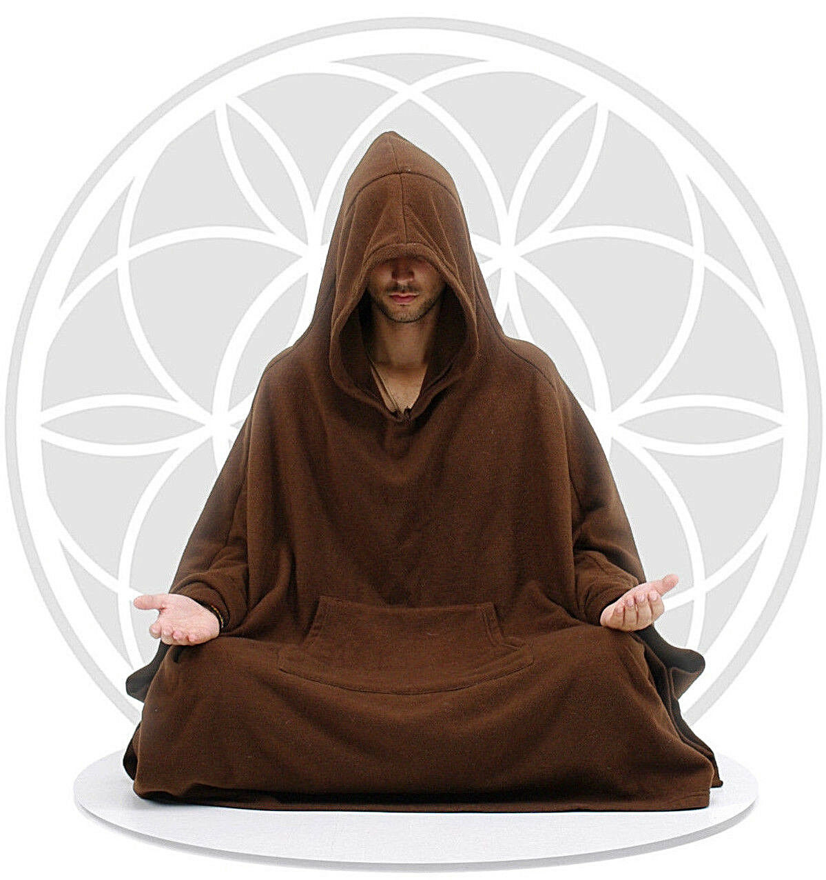 Meditation Cloak - Brown Unisex Women's Men's Yoga Relaxation Hooded Coat