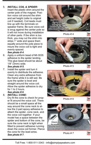 "Recone Kit for Cerwin Vega MXW12 Woofer 12/"" 8 Ohms Premium SS Audio Parts"