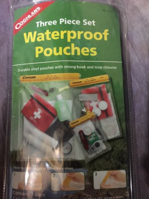 SAH Coghlans 3Pc Waterproof Pouches Dry Bag Case Cover Phone Protection Beach