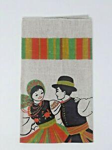 Vintage-Pulir-Popular-Bailarines-Lino-Toalla-Colgante-de-Pared-Estampado-a-Mano