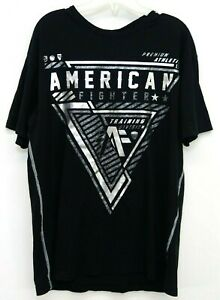 New-American-Fighter-Buckle-Mens-Black-Silver-Metallic-Soft-Tee-T-Shirt-Sz-Large