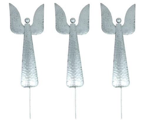 Gartenstecker 3er Set Weihnachtsengel Engel aus Metall Höhe 64 cm Farbe Silber B