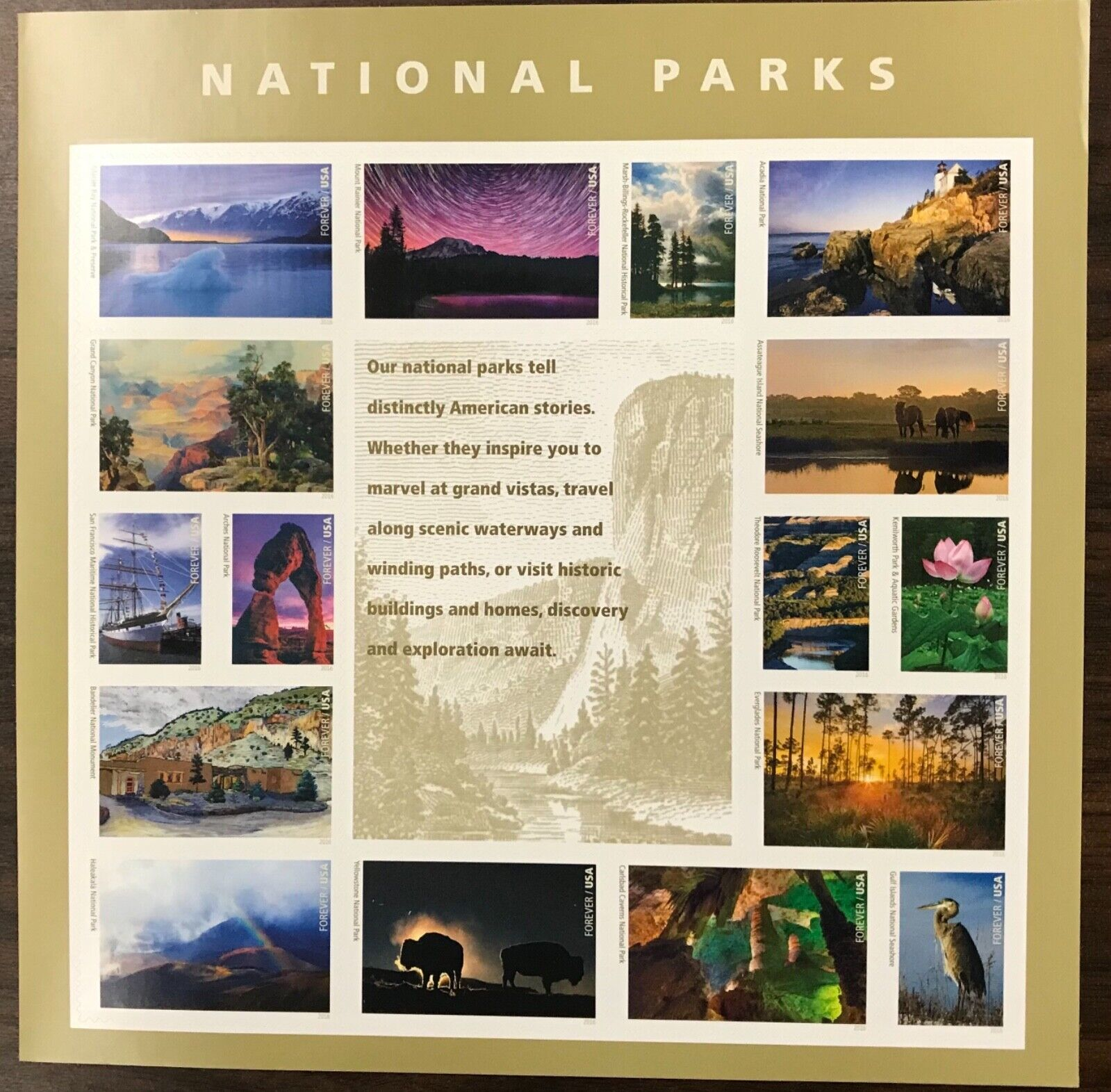 5080    National Parks    MNH Forever sheet of 16     FV $8.80    Issued in 2016