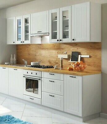 Landhaus Einbauküche LORA Küchenzeile 260 cm im Landhausstil weiß, beige o.  grau | eBay