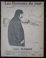 LOUIS BLERIOT AVIATEUR CARICATURE DESSIN LES HOMMES DU JOUR N° 85 de 1909