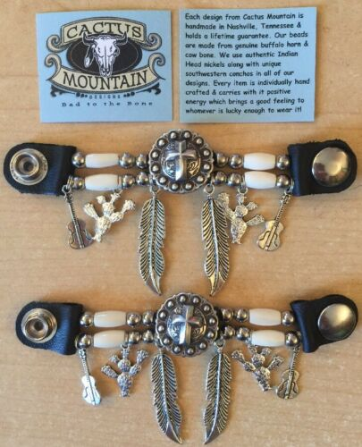 2 Handcrafted Authentic Bone Beaded Vest Extenders with Cross Concho /& Charms!