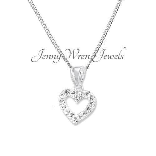 CHILDREN/'s kids Jewellery Sterling Silver Crystal Open HEART Necklace Pendant