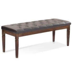 Upholstered Bedroom Bench Leather Wood Entryway Ottoman Hallway ...