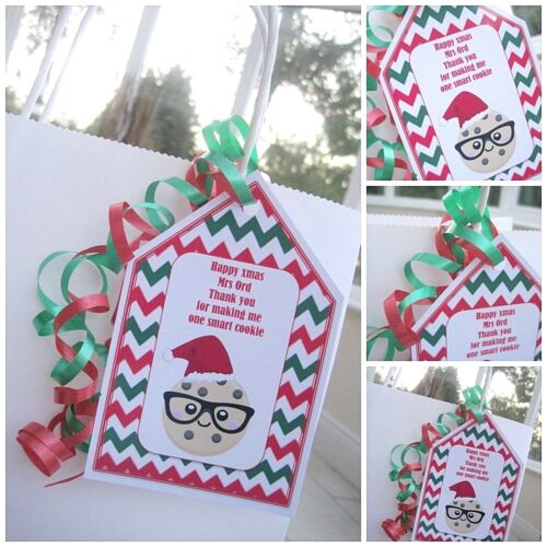 1 x christmas personalised Thank you Teacher Gift label gift tag smart cookie