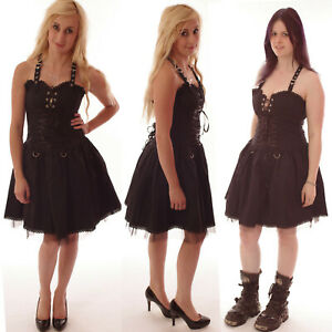 GOTHIC-BLACK-STRAPPY-COTTON-BASQUE-DRESS-BUCKLES-ALTERNATIVE-GOTH