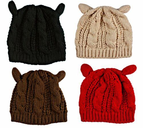 "Cap 4 Colors Woman/'s Cute Knit /""KITTY CAT EARS HAT/"" New Winter Fashion"