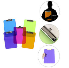6pk Colorful Transparent Clipboards Document Holder Office Desk Supplies LOT