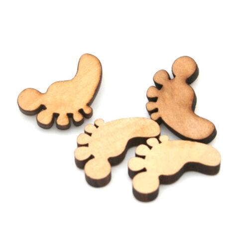 50pcs Holz Baby-Füße Formen Cut MDF Blank Verschönerungen Craft 18mm Hot Sa R0H8