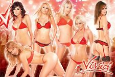 VIVID VIDEO ~ GIRLS RED LINGERIE 24x36 PINUP POSTER Sunny Leone Monique Alexandr