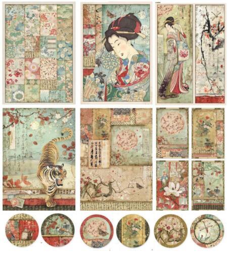 1 Papier de Riz asia Chine DIN a4 Imprimé Motif-Paille SOIE 28 g//m² Stamperia