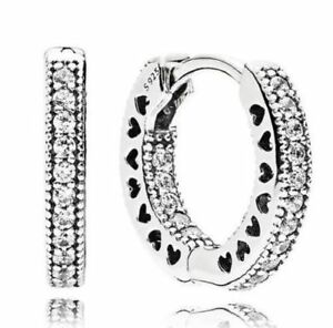 b1a9504cf Authentic Hearts of PANDORA 15mm Hoop Earrings Clear CZ 296317cz for ...