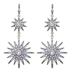 Kirks-Folly-Mystic-Star-Leverback-Earrings-Antique-Silvertone