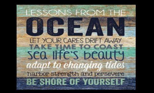 Ocean Beach Sign PHOTO Beach House Lessons Decor Wall 5x7 Photo Decoration