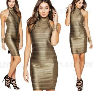 Womens-Bodycon-Midi-Dress-Black-Gold-Ribbed-Party-Metallic-Fitted-UK-Size
