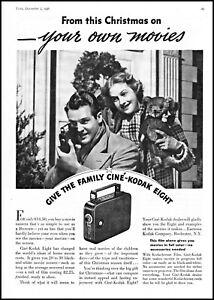 1936 Family Christmas movie Cine-Kodak movie camera vintage photo print ad ads18