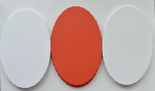 25 Oval Deckle Edged Shapes 146mm x 95mm White Linen//White Smooth//Smooth Red NEW