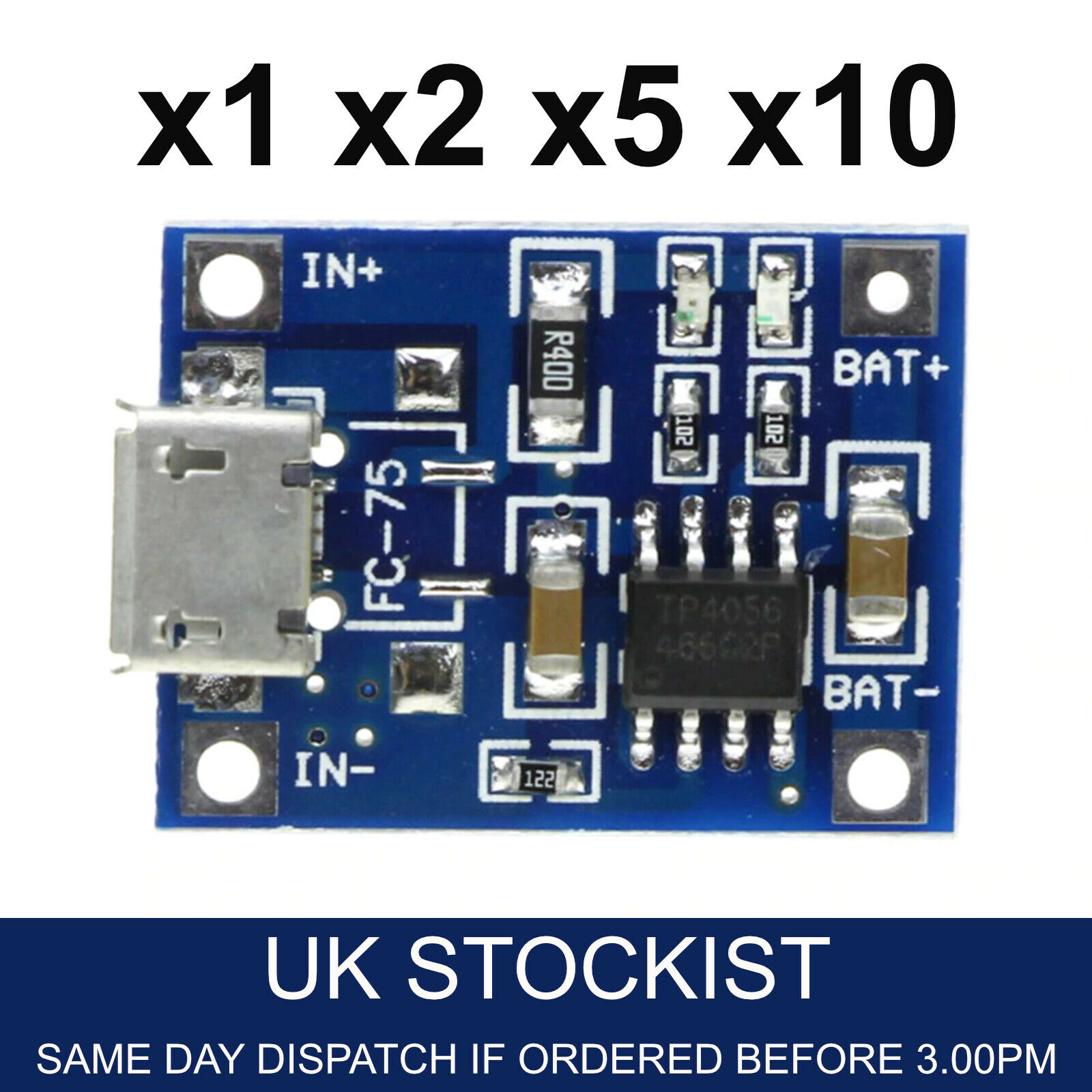 2pcs Mini USB 5V 1A Lithium Battery Charger Module Charging Board TP4056