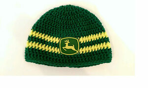 Image is loading Crochet-John-Deere-Hat-Baby-Boy-Girl-Newborn- 0f0bc243945