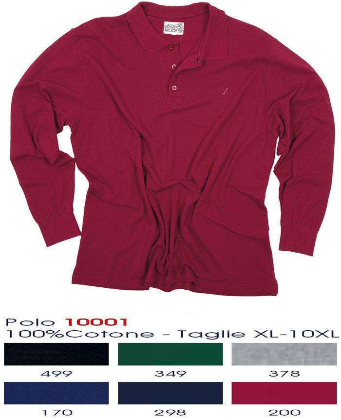 MAGLIA POLO GRIGIA MANICA LUNGA  COTONE  men 10001 MAXFORT TAGLIE FORTI