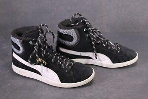 SB677-Puma-Vikky-Marl-Mid-Sneaker-Sportschuhe-Gr-38-schwarz-Leder-gefuettert