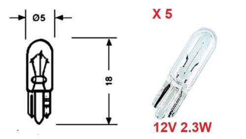 5 x 12V 2.3w 284 Dash Board Panel Light Bulb T5 Capless Wedge Fit UK NEW