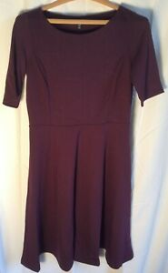 New Lands End Elbow Sleeve Boat Neck Ponte Dress Rich