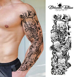 Full Sleeve Arm Temporary Tattoo Realistic Evil Clown Skulls Mens