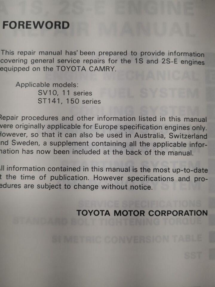 (28)Motorbog, Toyota Camry motorbog