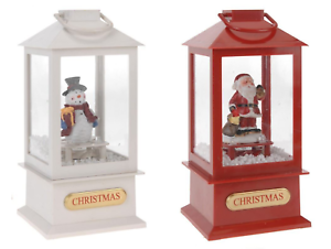 SINGING CHRISTMAS LANTERN SANTA XMAS SNOWMAN MUSICAL LED LIGHT /& SNOW 19CM
